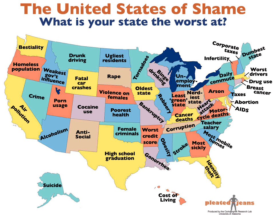 The United States Of Shame CHART Pleated Jeans - Map of us by state