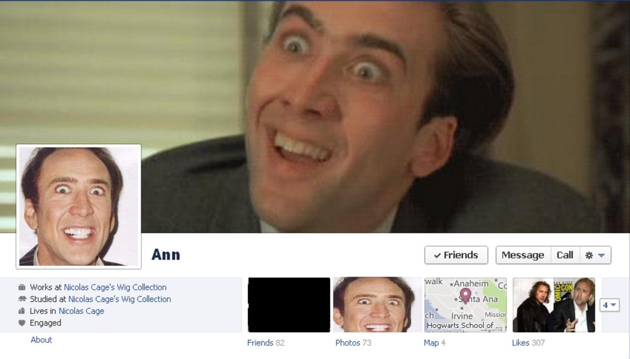 facebook pranking with nicolas cage photos pleated jeans