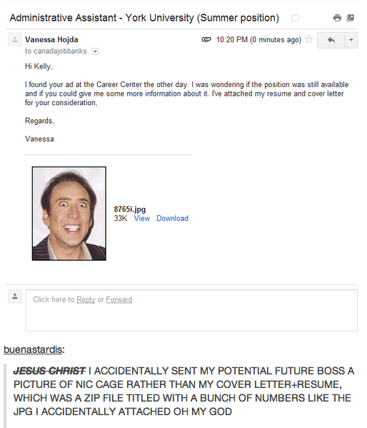 girl accidentally emails picture of nic cage instead of resume
