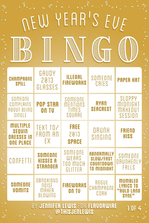 New Year\'s Eve Bingo Cards (4 Pics) | Pleated Jeans