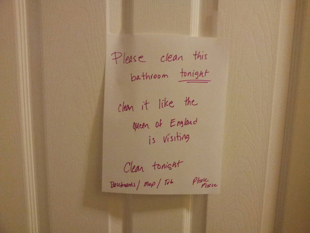 Mom Asks Son To Clean Bathroom Like The Queen Of England