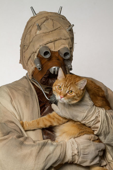 star wars characters pose with pets to help get them