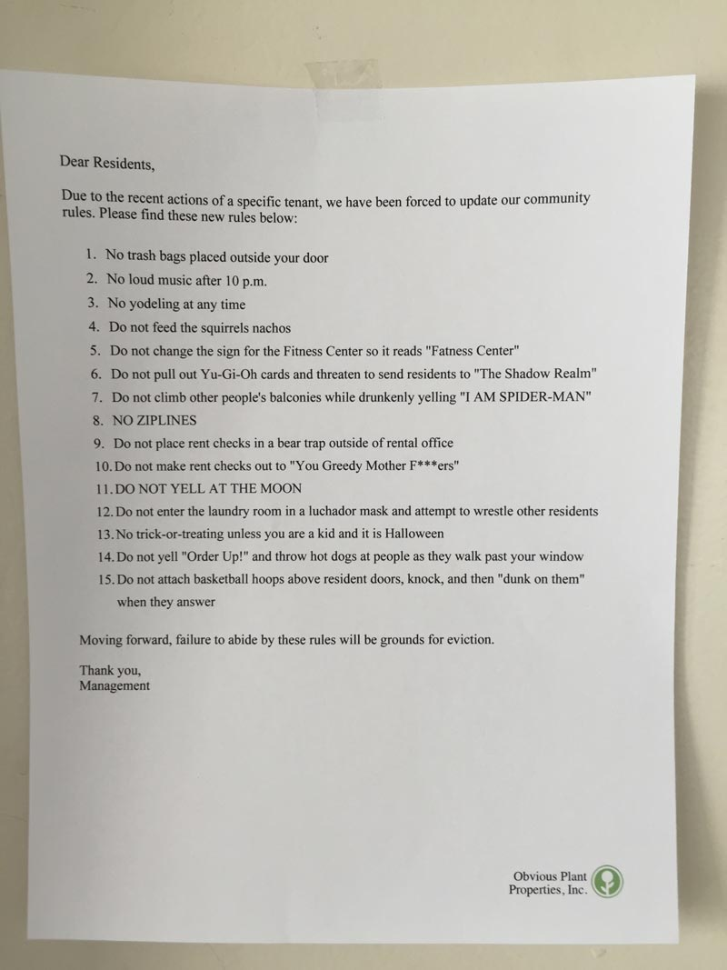 I Left This Letter From \u0027Management\u0027 on the Doors of an Apartment Complex | Pleated Jeans & I Left This Letter From \u0027Management\u0027 on the Doors of an Apartment ...