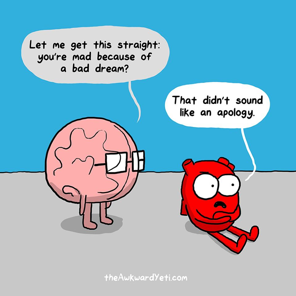 funny comics show the constant struggle between the heart