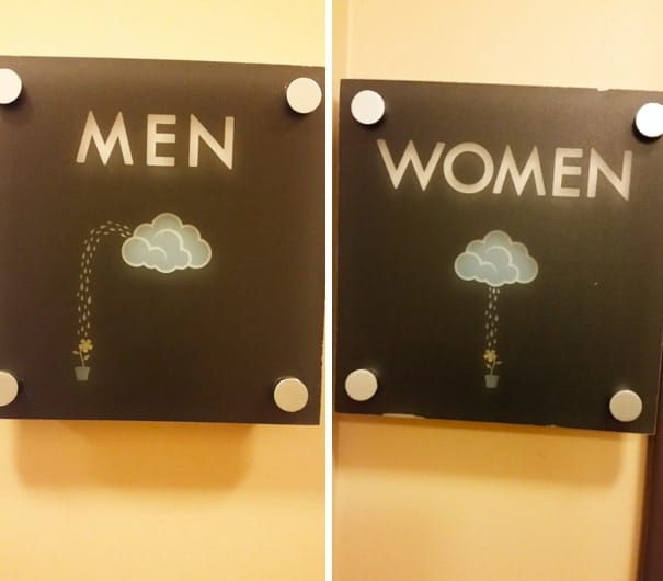These restaurants and businesses all found a clever way to label their bathroom options   via guff. 24 Creative and Hilarious Bathroom Signs   Pleated Jeans com